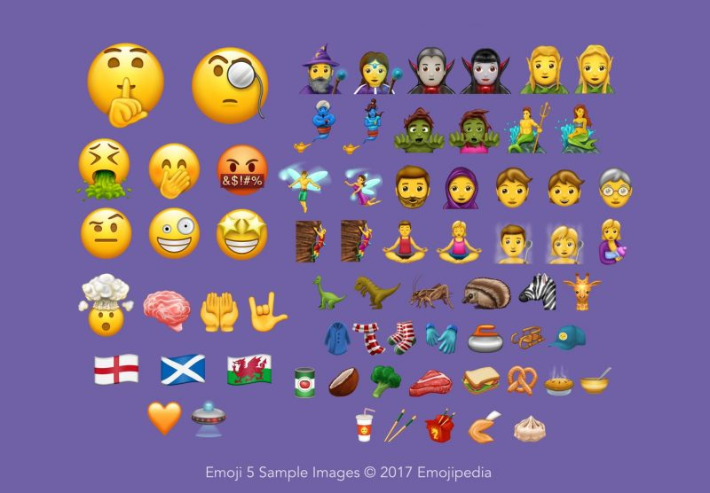 Emoji 5 Sample Images (new in Unicode 10)